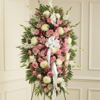 Funeral_Pink & White Sympathy Standing Spray