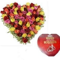 multicolored heart roses w/hershey's heart