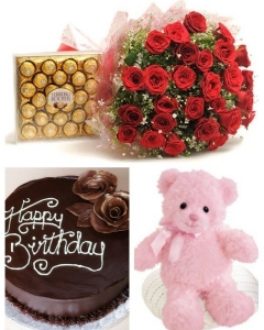 Cake - Chocolate, 2 ft teddy , 24 roses & ferrero
