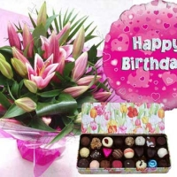 Flowers, Belgian Chocolates and Balloon